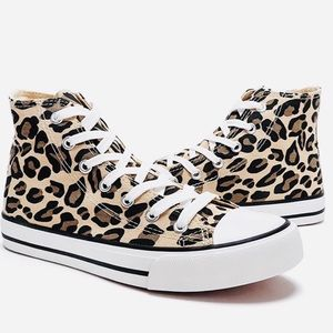 Shoes - New Leopard Print High Top Canvas Sneakers